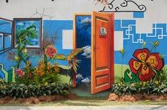 Pinturas de pared del tema de la naturaleza y flor real fotos de archivo