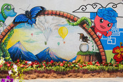 Pinturas de pared del tema de la naturaleza y flor real imágenes de archivo libres de regalías