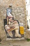 Pinturas de pared famosas en Orgosolo en Cerdeña imágenes de archivo libres de regalías
