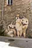 Pinturas de pared famosas en Orgosolo en Cerdeña imagen de archivo libre de regalías