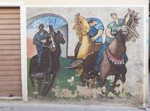 Pinturas de pared famosas en Orgosolo en Cerdeña fotografía de archivo libre de regalías