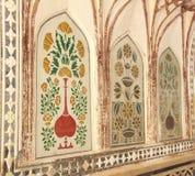 Pinturas de pared reales en Amber Fort. fotos de archivo libres de regalías