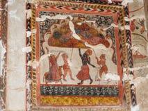 Pinturas de parede do forte de Orchha e do palácio, Madhya Pradesh, Índia fotos de stock royalty free