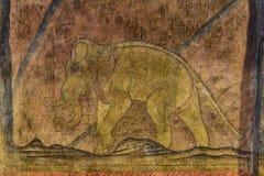 Pinturas de parede, elefante antigo Fotos de Stock Royalty Free