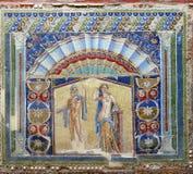 Pinturas de parede em uma casa de Herculaneum foto de stock
