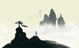Pinturas decorativas de la tinta del paisaje del pino antiguo ilustración del vector