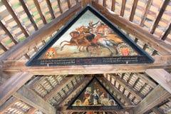 Pinturas del esqueleto de la antigüedad del puente de madera de Lucerna Suiza Imágenes de archivo libres de regalías