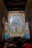 Pinturas del fresco del Pantocrator en la iglesia Sant Climent de Ta Imagen de archivo