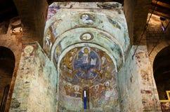 Pinturas del fresco del Pantocrator en la iglesia Sant Climent de Ta Foto de archivo