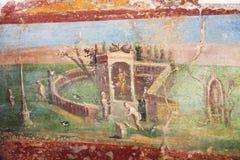 Pinturas del fresco en las paredes romanas antiguas Imagen de archivo libre de regalías
