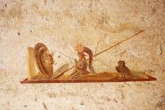 Pinturas del fresco en las paredes romanas antiguas Imágenes de archivo libres de regalías