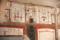 Pinturas del fresco en las paredes romanas antiguas Fotos de archivo