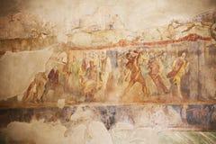 Pinturas del fresco en las paredes romanas antiguas foto de archivo libre de regalías