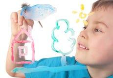 Pinturas del muchacho en la nube y la casa de cristal Foto de archivo libre de regalías