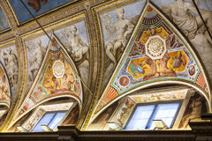 Pinturas del techo en museo ducal del palacio en Mantua Imagen de archivo