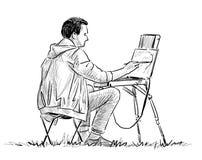 Pinturas do estudante no ar livre Imagem de Stock Royalty Free