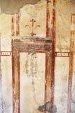 Pinturas do fresco em paredes romanas antigas Fotos de Stock Royalty Free