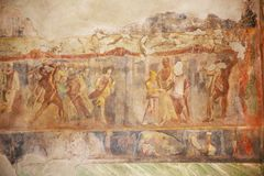 Pinturas do fresco em paredes romanas antigas Fotos de Stock