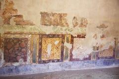 Pinturas do fresco em paredes romanas antigas Imagens de Stock