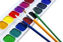 Pinturas e escovas Foto de Stock