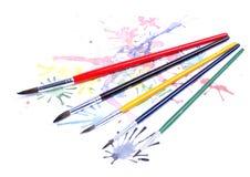Pinturas e escovas Fotografia de Stock