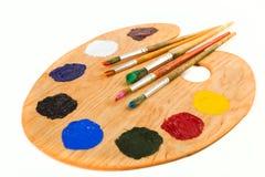 Pinturas e escovas fotografia de stock royalty free