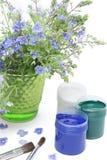 Pinturas e flores Fotografia de Stock Royalty Free