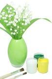 Pinturas e flores Imagem de Stock