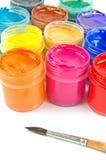 Pinturas e pincel Foto de Stock