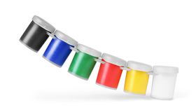 Pinturas, frascos ou latas da cor do guache isolados no fundo branco Imagens de Stock Royalty Free