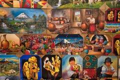 Pinturas indígenas coloridas en Otavalo Ecuador Imágenes de archivo libres de regalías