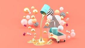 Pinturas líquidas douradas que jorram da lata azul entre as bolas coloridas no fundo cor-de-rosa imagem de stock royalty free