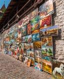 Pinturas a óleo na parede Krakow (Cracow) - POLÔNIA Fotografia de Stock Royalty Free