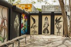 Pinturas murais da arte em Wynwood criativo e em distrito das artes em Miami Fotografia de Stock Royalty Free