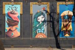 Pinturas murais do bairro Yungay Fotos de Stock Royalty Free