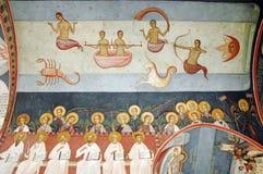 Pinturas murais e fresco no interior do monastério de Tismana, Romênia Imagem de Stock