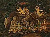 Pinturas murais na parede exterior do palácio Banguecoque Tailândia do rei Imagens de Stock Royalty Free