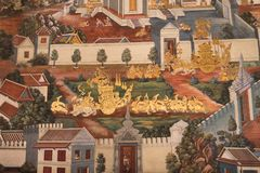 Pinturas murais tailandesas na parede, Wat Phra Kaew o 16 de julho de 2016 Fotografia de Stock Royalty Free