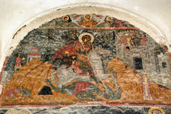 Pinturas murales en la entrada del monasterio de Alaverdi en el valle de Alazani Región de Kakheti georgia foto de archivo libre de regalías