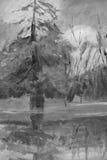 Pinturas pintadas da árvore fotografia de stock royalty free