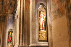 Pinturas San Giuliano e Santo Stefano na igreja de Orsanmichele, Florença, Itália fotografia de stock