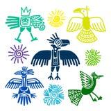 Pinturas tribais primitivas dos pássaros ilustração royalty free