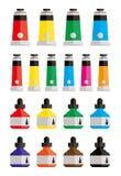 Pinturas y botellas de tinta Fotos de archivo