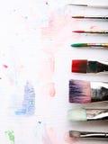 Pinturas y cepillos Foto de archivo