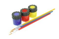 Pinturas y cepillos del color Fotos de archivo