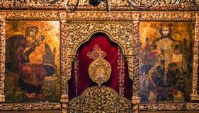 Pinturas y frescos dentro de la iglesia del St Naum en el lago Ohrid, macis Foto de archivo