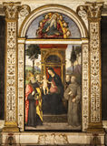 Pinturicchio. Madonna and Child Enthroned with Saints. Santa Maria del Popolo. Rome, Italy stock images