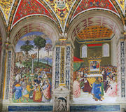 Pinturicchio's frescoes in the Piccolomini Library of Siena Cathedral Royalty Free Stock Photos