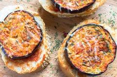 Pintxos with eggplant Stock Image