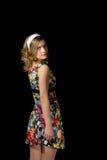 pinup样式的美丽的白肤金发的女孩 免版税库存图片